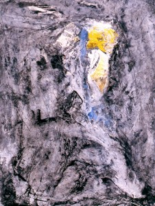 220.  'cleft', mixed media and collage on paper, 16x12ins, 1992