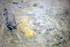 221.  'clear and hazy', mixed media on paper, 15x23ins 1992