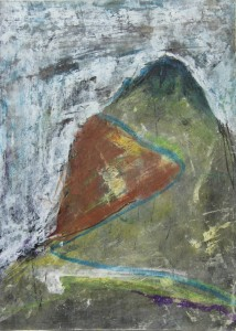 224.  'hillish', mixed media on paper, 12x8 ins.,  1991