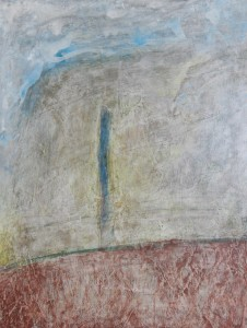 229.  'post and hill', mixed media on paper, 16x12 ins., 1991