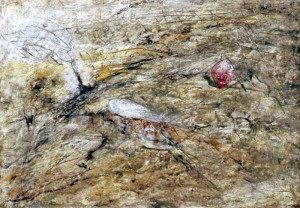 231. 'edge-tree', mixed media on paper, 14x20 ins.,  1990