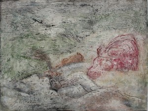 232.  'under the hill', mixed media on paper, 12x16 ins., 1990