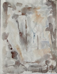 233.  'through', water colour on paper,   11x9 ins., 1990