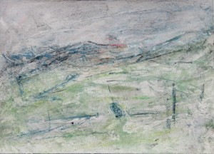 234.  'hill-fence', mixed media on paper,  7x10 ins., 1990