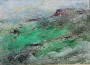 235.  'headland', mixed media on paper, 8x11 ins.,  1990