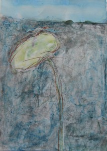 236.  'floral 3', mixed media on paper, 12x8 ins.,  1990