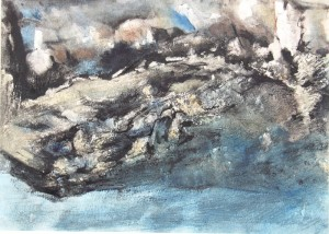 240.  'bay' water colour on paper, 10x14 ins.,  1990