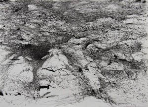 241.  'rocky hill', ink on paper, 17x12 ins.,  1990