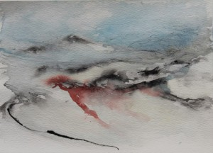 244.  'hill', water colour and ink on paper,7x10 ins., 1990