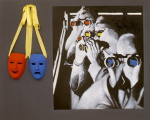 245. 'seek in hide', acrylic, oil and collage on canvas, 34x42ins, 1987