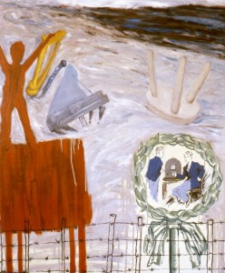 246.  'maestro's late modern trio for time's ending beginning', oil on canvas, 50x42ins, 1987
