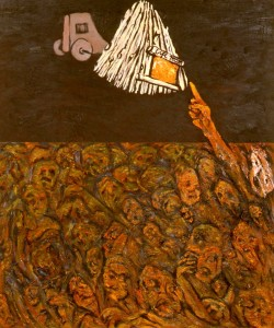 247.  'life-room', oil and collage on canvas, 60x50ins, 1987