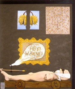 248. 'language and art - the fruits of labour', acrylic,oil and collage on canvas, 70x60ins, 1987