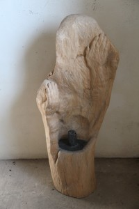 25. 'hands-on throne', ash stump, lead and plaster, 42x18x10 ins., 2000-04