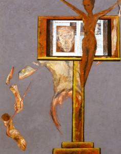 250.  'more and less passion', oil and collage on canvas, 60x50ins, 1986-7