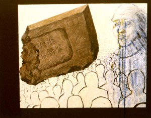 251. 'brick and tears', acrylic,  oil and collage on canvas,  40x50ins, 1986-7
