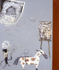 254.  'with Tiresias on the Olduvai road', oil on canvas, 60x50ins, 1986-7