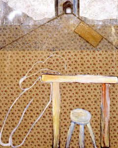 259. 'hill with painter's table', oil and textile on canvas, 60x50ins, 1986