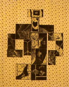260.  'art's bitty body', woodcuts on textile, 60x50ins, 1986