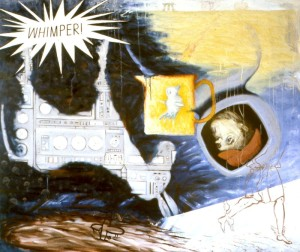 265.  '...flight, he realised that, in spite of the conquest of all distance, things were still no ne...', oil and pastel on canvas, 55x65ins, 1985