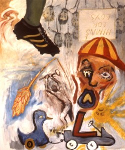 267.  '...mad about the boy...', oil and pastel on canvas, 65x55ins, 1985