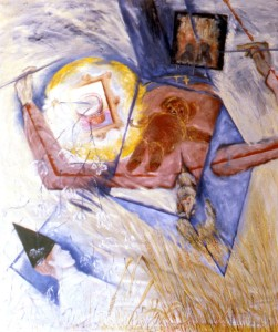 269.  '...opening the box...', oil on canvas, 60x50ins, 1985
