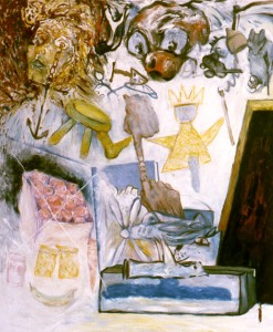 270.  'early days', oil and pastel on canvas, 60x50ins, 1985