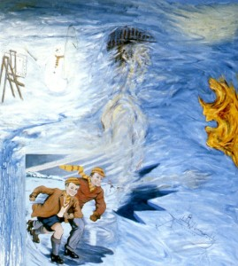 271. '...fun, when his dad bumped into Oedipus in foul weather...', oil on canvas, 60x54ins, 1985