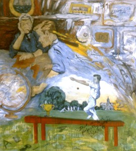 274.  '...on earth are we heading for now, he sked the skip...', oil on canvas, 60x55ins, 1985