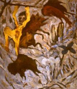 277.  'painter hanging on in there', oil on canvas, 52x45ins, 1985