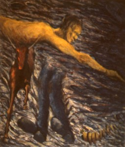 287.  'taking the plunge', oil on canvas, 70x60ins, 1984