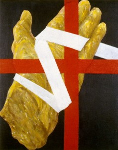 295.  'painter's hand acrylic and collage on canvas 16x12ins, 1984 finalscan016 copy