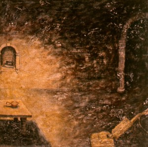 306.  'shrine', egg tempera on plaster on canvas, 22x18ins, 1984
