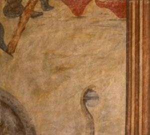307.  'lost cause', egg tempera on plaster on canvas, 20x15ins, 1984