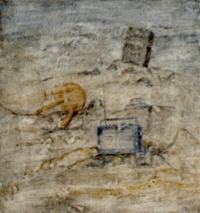 310. 'late landscape', egg tempera on plaster on canvas, 15x11ins, 1984