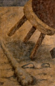 311.  'night watch detail', egg tempera on plaster on canvas, 20x10ins, 1983
