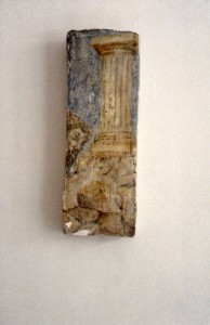 315.  'glimpse', egg tempera on plaster and wood structure, 15x4ins, 1984