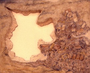 317.  'lost jug', egg tempera on plaster and wood structure,26x34 ins., 1983