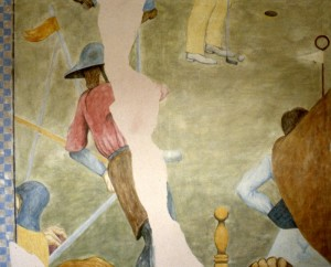 319.  'links  unfinished', egg tempera on plaster on canvas, 30x40ins, 1983