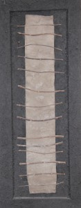 32. 'sonnet, gris et noir', card, eucalyptus twigs, ash and medium on wooden door, 35x14ins, 1996