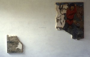 322.  're-membering', egg tempera on plaster and wood structures, variable dimensions, 1983