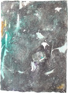 326.  'surfacing', mixed media on paper, 31x22ins, 1982