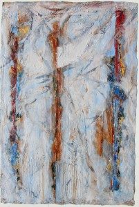 327.  'behind bars', mixed media and collage on paper, 31x22ins, 1982