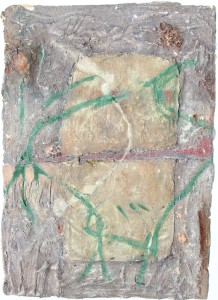 329.  'game of two halves', mixed media and collage on paper, 32x22ins, 1982