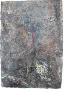 331.  'patched up', mixed media and collage on paper, 31x22ins, 1982