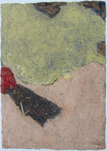 332.  'beyond the keyhole', mixed media and collage on paper, 31x22ins, 1981