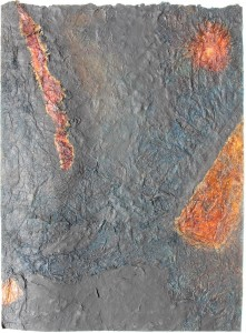 335.  'sun burn effect', mixed media and collage on paper, 31x22ins, 1981