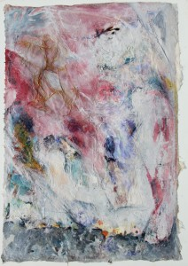336.  'slide to grace', mixed media and collage on paper, 31x22ins, 1981