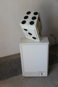 34. 'dicey-teevee', t.v., cabinet, acrylic paint, 47x18x19 ins., 1989