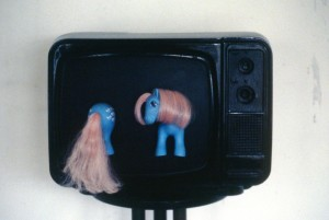 37. 'un-stable-teevee', TV, paint and toy, 12x16x15 ins.,  1989